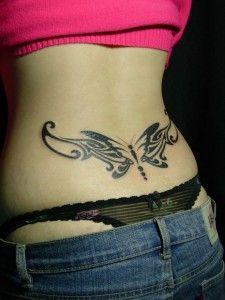 Tatuaje 3D de la mariposa Diseños de tatuajes Espalda baja Negro Butterfly Designs Mostrando Diseño tatuajes Espalda Baja Con El Exclusivo