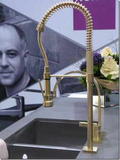 Brass restaurant-style faucet | Bloomsbury kitchens