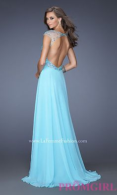 Long High Neck Gown with Cap Sleeves at PromGirl.com