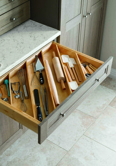 Great ideas for kitchen solutions! Angled drawer dividers make it easy to store longer utensils, like rolling pins, and free up valuable countertop space. Shop more kitchen solutions from Martha Stewart Living at The Home Depot. Kitchen Solutions, Diy Kitchen Storage, Kitchen Remodel, Kitchen Decor, Home Decor, Farmhouse Kitchen Cabinets, Home Kitchens, Drawer Dividers, Kitchen Renovation