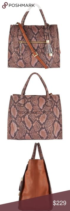 10ee699bbb149 G.I.L.I. Snake Printed Leather Shopper Double handles