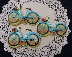Bicycle with flower basket cookies by ruthiescookies on Etsy, $21.00