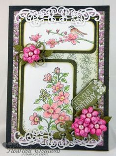 "Heartfelt Creations | Pink Birthday Blooms. ||  ♡ LOVELOVELOVE THIS CARD!!!  HAVE TO FIND THE ""FLOWERING TREE BRANCH"" STAMP!  ♥A"
