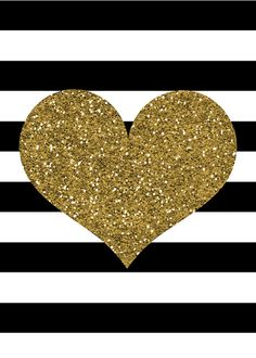 Gold Glitter Heart Print; Black and White Stripes; Valentine's Day Print; DIY Printable; Instant Download on Etsy, $5.00