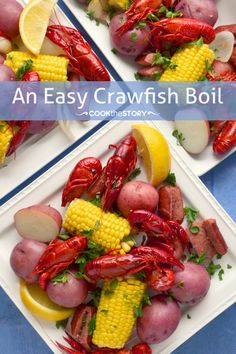 """""""An Easy Crawfish Boil Recipe, a healthy and delicious recipe for summer entertaining"""". If your crawfish boil is 'healthy', you're doing it wrong. I always giggle when I see pictures like this that have a total of 7 crawfish on a plate. Seafood Boil, Fish And Seafood, Seafood Recipes, Cooking Recipes, Crab Boil, Crawfish Boil Recipes, Cajun Recipes, Seafood Dishes, Cooking Ideas"""
