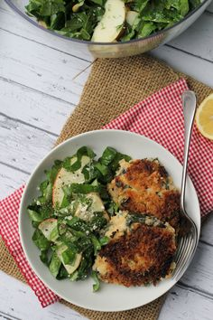 smoky kale and potato cakes and red kale salad with quick-pickled apples from Eats Well With Others