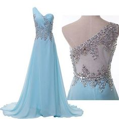 Stunning Beaded Chiffon Evening Formal Ball Gown Party Pageant Prom Dresses Long | eBay