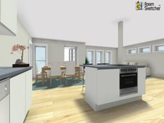 "FILL IN THE BLANK: ____________ flooring would also work well in this kitchen.  http://www.roomsketcher.com/features/homedesigner/ From ""Housing Manufacturer Of The Week,"" Fiskarhedenvillan   The Diamanten floor plan's kitchen opens up to a large great room with dining area and living area. (3D floor-level floor plan).  #floorplans #housing #homebuilders"