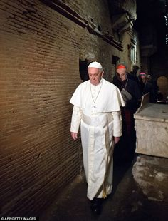 Pope Francis in the necropolis beneath the Vatican where he visited the tomb of St Peter