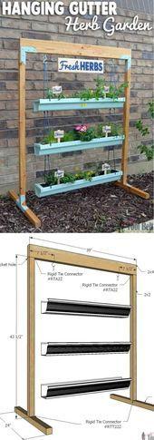 Best DIY Vertical Rain Gutter Garden Ideas For Small Spaces - Trend Garden Ideas Gutter Garden, Herb Garden, Mason Jar Planter, Mason Jars, Cool Diy, Small Space Gardening, Small Spaces, Herbs, Outdoor Structures