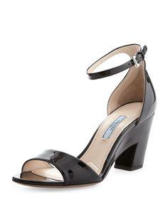 Patent+Cutout-Heel+Sandal,+Black+by+Prada+at+Bergdorf+Goodman.