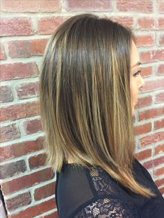 Long angled bob/Lob with balayage technique hi lights. Color & Cut done by Ashley Sees at Hair Culture salon  in Galloway, NJ.