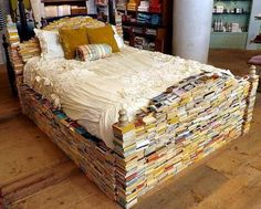 Decorating idea for bookworms: A bed made entirely of books!