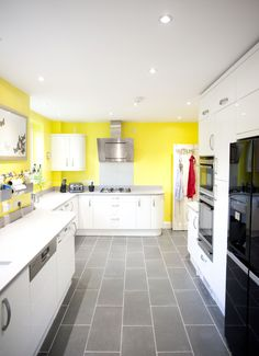 A beautiful White Gloss Curved Kitchen which has been brightened up with sunny yellow walls! German Kitchen, Bespoke Kitchens, Yellow Walls, Kitchen Remodel, Kitchen Design, Kitchen Cabinets, Beautiful, Home Decor, Decoration Home