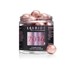 Lakrids By Johan Bülow Rose Gold 2016 Cherry Choc Coated Liquorice: If there were a kingdom of liquorice, these Rose Gold 2016 Cherry Choc Coated Liquorice by Lakrids By Johan Bülow would be the princesses. Sweet liquorice, wrapped in the finest white Belgian chocolate, and last but not least, dressed in a beautiful coat of cherry. Gluten Free.