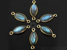 Natural Labradorite Bezel Marquise Component 24K by Beadspoint, $7.99