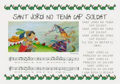 Làmina de la cançó: Sant Jordi no tenia cap soldat English Course, Saint George, Fashion Couple, Musical, Activities For Kids, Singing, Saints, Blog, Piano