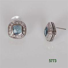 Aqua Silver Bezel with Clear CZ Pave Post Earrings