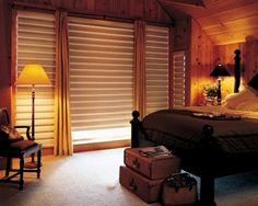 Hunter Douglas Pirouettes with Custom Drapery Panels from Feathers!  www.feathersdesign.com