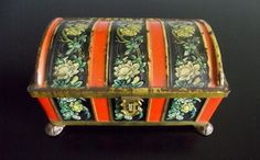 Fricke and Nacke 1930s Tin Chest with Hinged Lid and Hasp Black and Orange