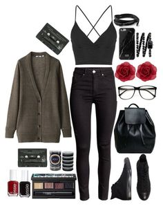 """Soft Grunge Fashion"" by grungekiddhipster ❤ liked on Polyvore featuring Uniqlo, Converse, Topshop, NARS Cosmetics, L. Erickson, Essie, Accessorize, Chanel, Hipster and indie"