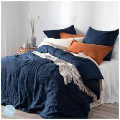 Navy Blue Bedding, Navy Blue Bedrooms, Blue Bedroom Decor, Bedding Master Bedroom, Bedroom Orange, Home Bedroom, Navy Quilt, Navy Blue Decor, Blue Duvet