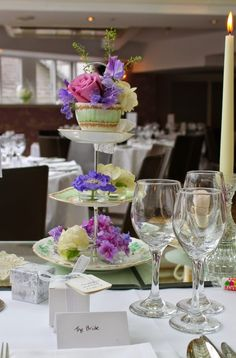 Three tier cake stand filled with Sweet Peas, Scabious, Roses, Peonies and Hydrangeas Afternoon Tea Wedding, Peonies And Hydrangeas, Flower Designs, Swan, Everything, Mary, Tier Cake, Sweet Peas