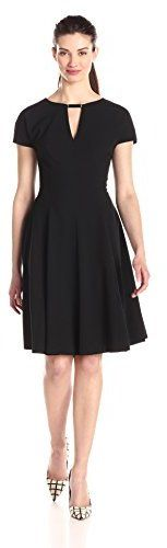 Anne Klein Women's Short-Sleeve Fit-and-Flare Dress with Neck Trim