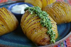 Hasselback Potatoes with Sour Cream and Chive Pesto. Goes great with a steak dinner! - Three Many Cooks