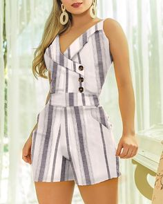 Sleeveless Striped Buttoned Design Romper – bodyconest printed romper,outfit romper,romper and tights,romper casual Trend Fashion, Summer Fashion Outfits, Casual Outfits, Casual Jeans, Spring Outfits, Latest Fashion, Womens Fashion, Romper Outfit, Chor