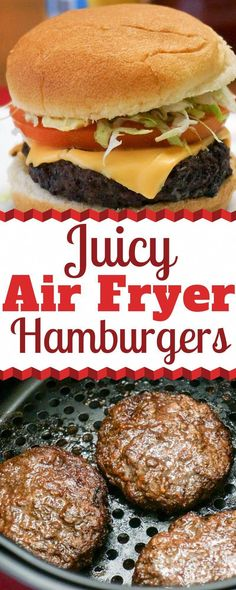 Hamburgers turn out perfect in the Air Fryer every time. They are super easy to cook and have a great flavor. They turn out perfectly juicy every time. You can make Air Fryer Hamburgers from Fresh or Frozen. Find out the details at the link. Air Fryer Recipes Potatoes, Air Fryer Oven Recipes, Air Fryer Dinner Recipes, Power Airfryer Xl Recipes, Air Fryer Recipes Hamburger, Power Air Fryer Recipes, How To Cook Hamburgers, Cooking Hamburgers, Cooks Air Fryer