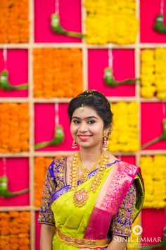 Shopzters is a South Indian wedding site Telugu Wedding, Saree Wedding, Bridal Sarees, Half Saree Designs, Bridal Blouse Designs, South Indian Bride, Indian Bridal, Half Saree Function, Bridal Jewellery Inspiration