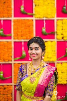 Shopzters is a South Indian wedding site Half Saree Designs, Silk Saree Blouse Designs, Bridal Blouse Designs, Silk Sarees, Indian Bride And Groom, South Indian Bride, Wedding Silk Saree, Bridal Sarees, South Indian Bridal Jewellery