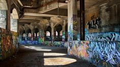 Abandoned subway: Rochester, N.Y. The Broad Street Aqueduct, which leads to the subway tunnel, is covered in graffiti and has become known as 'The Gallery.'