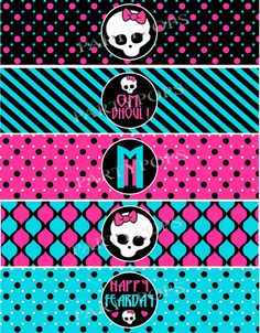 Monster High Inspired Party,  Water Bottle, Bottle Labels, Napkin Rings, Monster High Party, Monster High Birthday, Skullr, INSTANT DOWNLOAD