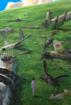 "Jiro walks through a graveyard of airplanes in a dream - ""The Wind Rises"" (2013)"