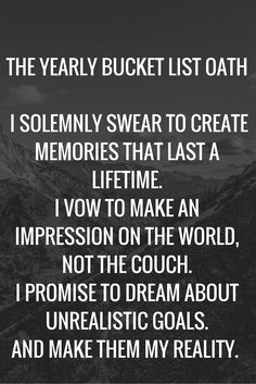 Yearly Bucket List Oath via Bucket List Publications