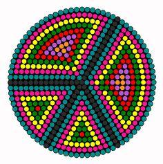Rainbow Peace Signs Perler Bead Pattern