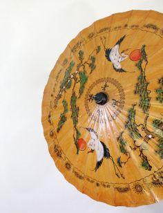 Vintage Asian Parasol Umbrella  Bamboo Handle