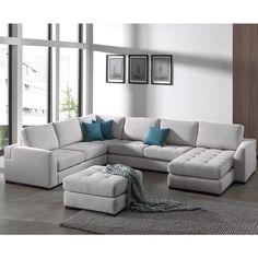 Canapé d'angle panoramique gris en tissu VIGO (10 coloris de coussins au choix)