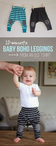 sewing projects for baby Baby Boho Leggings free sewing project!from an old shirt)! Don't get rid of those old knit shirts.turn them into comfy little Baby Boho Leggings in only 20 minutes! Baby Sewing Projects, Sewing For Kids, Free Sewing, Sewing Tutorials, Sewing Tips, Sewing Ideas, Sewing Men, Sewing Hacks, Baby Outfits