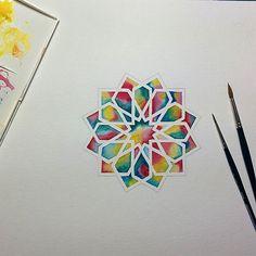 Watercolour experiment.. 12 petal rosette .. Watercolour and coloured pencils…