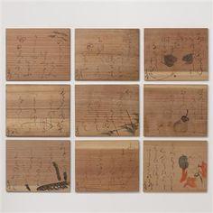 oagaki rengetsu's ten wooden plates Wooden Plates, Art Art, Ink, Painting, Stones, Painting Art, Paintings, India Ink, Painted Canvas