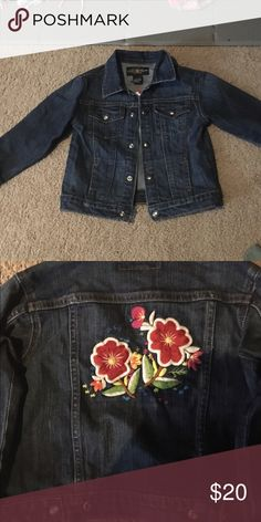 Lucky Brand denim jacket with flower appliqué Adorable denim jacket - my daughter would never wear it.  My loss is your gain! Lucky Brand Jackets & Coats Jean Jackets