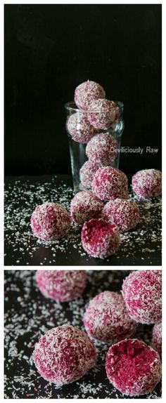 Raw Vegan Coconut & Beetroot Balls by Deviliciously Raw. All you need is 5 simple ingredients (shredded coconut, buckwheat, dates, beetroot and vanilla)