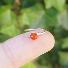 Small silver earrings with carnelian