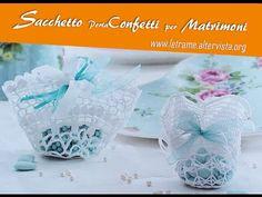Tutorial Bomboniera Centrino porta confetti 2/2 - YouTube Crochet Ornaments, Knitted Bags, Crochet Bags, Baby Shower Favors, Confetti, Free Crochet, Baby Gifts, Projects To Try, Decorative Boxes