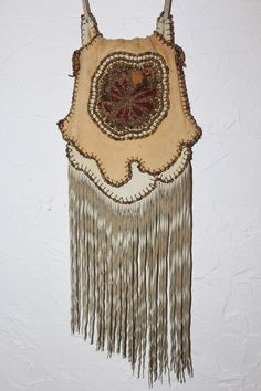 Slide Pouch with seed bead work by Carole Hook. Vintage 1980's.