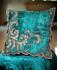 Turquoise blue Velvet decorative cushion with embroidery
