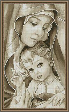 Ricami, lavori e centinaia di schemi a punto croce di tutti i tipi, gratis: Schemi a punto croce religiosi- Madonnina con bambino